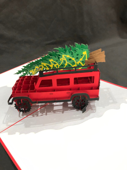 Handmade 3D Kirigami Card  with envelope  Christmas Jeep