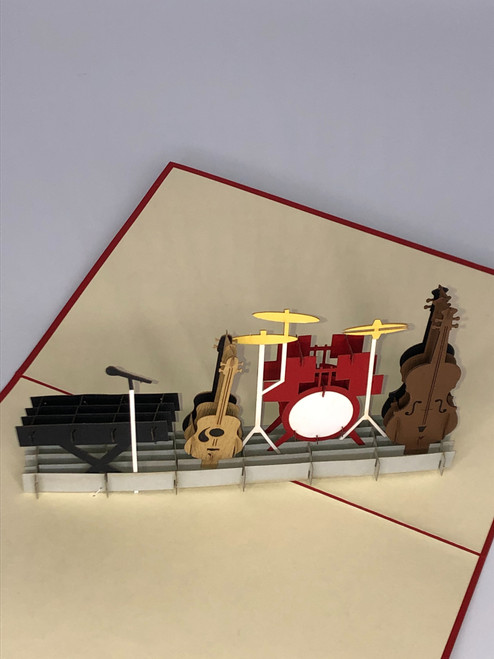 Handmade 3D Kirigami Card  with envelope  Band Combo