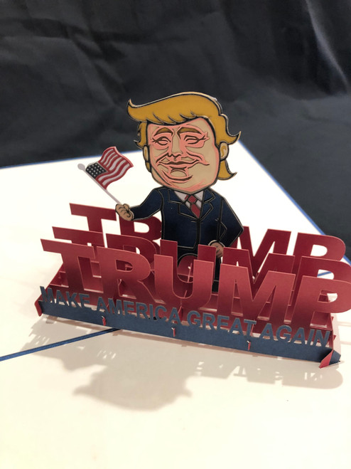 Handmade 3D Kirigami Card  with envelope  Trump 2020 Make America Great Again MAGA
