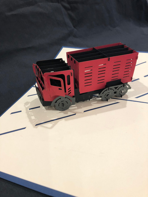 Handmade 3D Kirigami Card  with envelope  Tractor Trailer