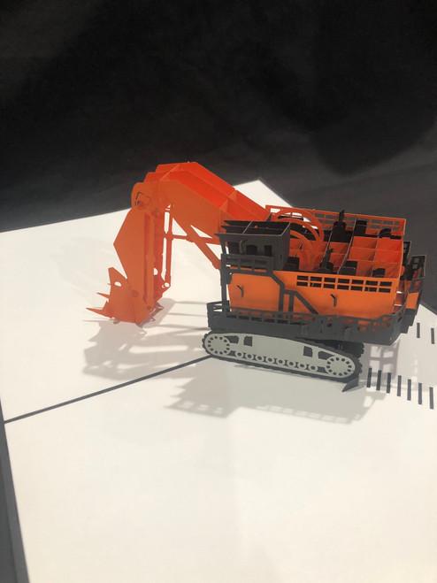 Handmade 3D Kirigami Card Escavator Heavy Equipment