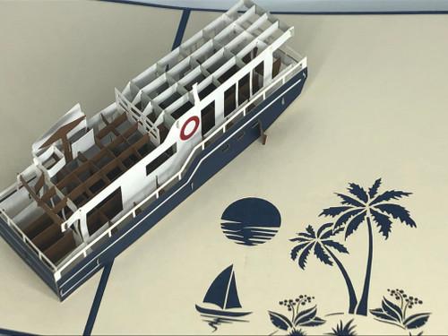 Handmade 3D Kirigami Card  with envelope  Houseboat
