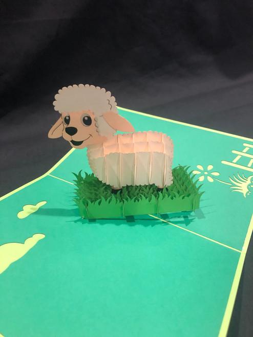 Handmade 3D Kirigami Card Lamb Sheep