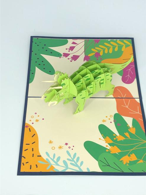 Handmade 3D Kirigami Card  Triceratops Dinosaur  Includes Envelope