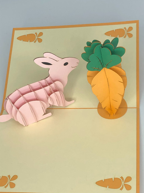 Handmade 3D Kirigami Card  with envelope  Rabbit and Carrot