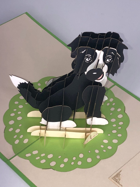 Handmade 3D Kirigami Card with envelope Collie Dog