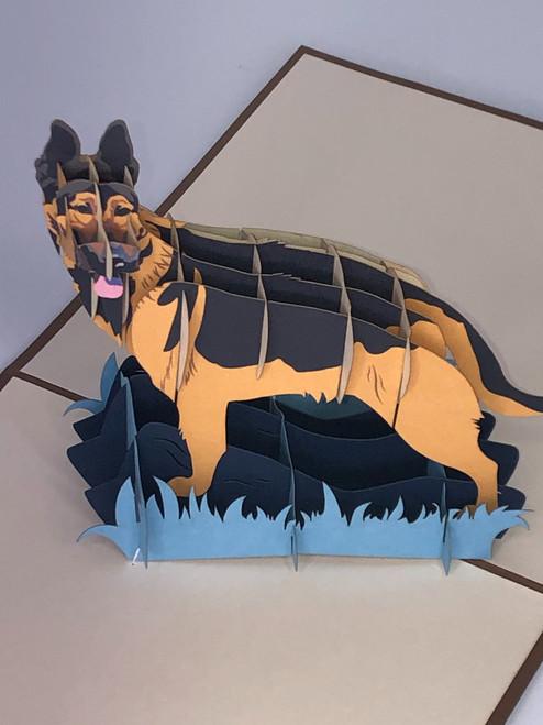 Handmade 3D Kirigami Card with envelope German Shepard Dog