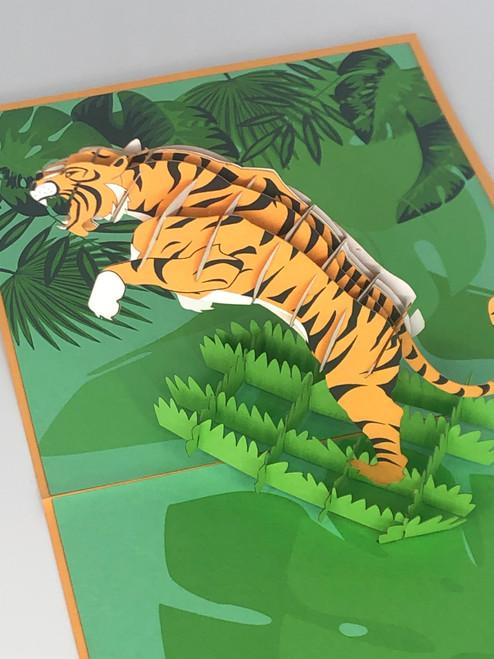 Handmade 3D Kirigami Card  with envelope  Tiger King
