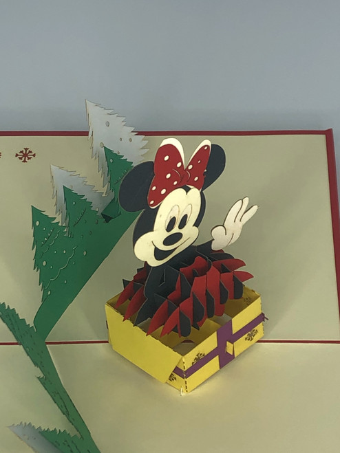 Handmade 3D Kirigami Card  with envelope  Christmas Mini Mouse