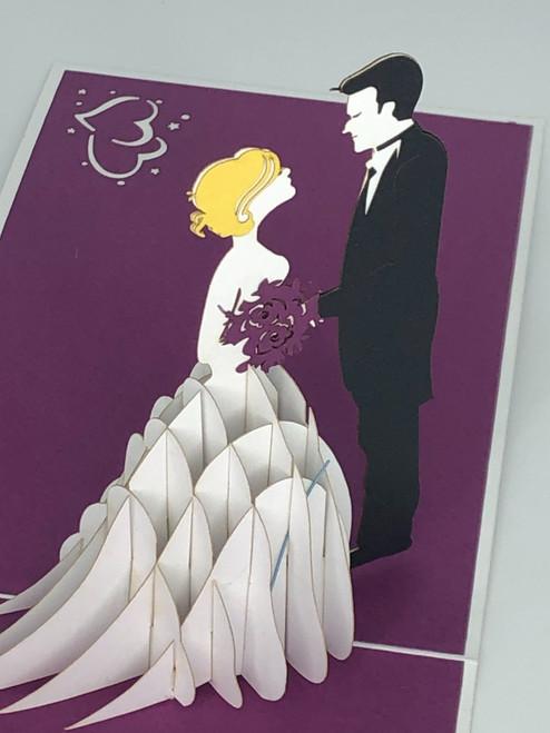 Handmade 3D Kirigami Card  with envelope  Wedding Couple
