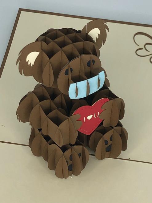 Handmade 3D Kirigami Card  with envelope  Covid Love Bear