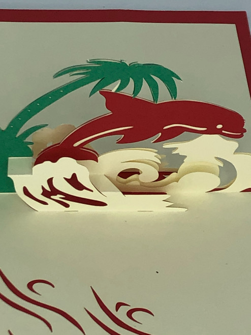 Handmade 3D Kirigami Card  with envelope  Red Dolphin