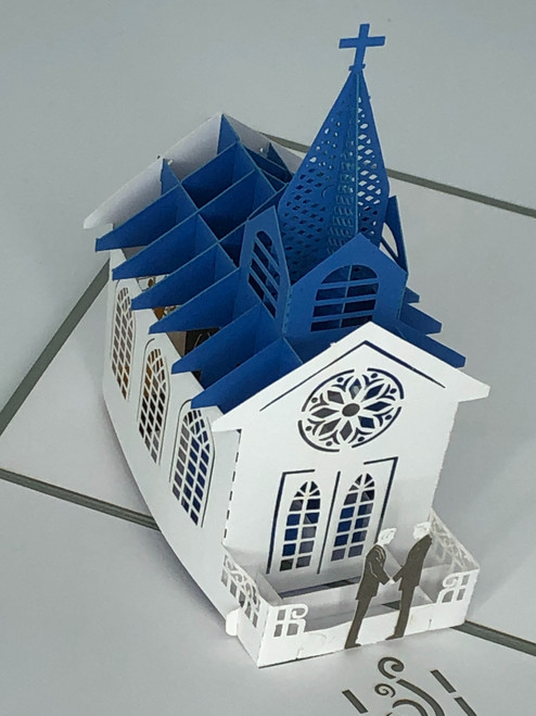 Handmade 3D Kirigami Card  with envelope  Gay Men Wedding Chapel Church