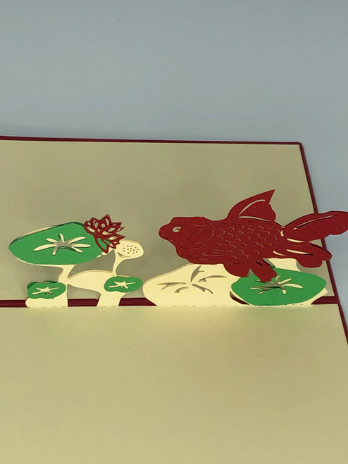 Handmade 3D Kirigami Card  with envelope  Coy Fish