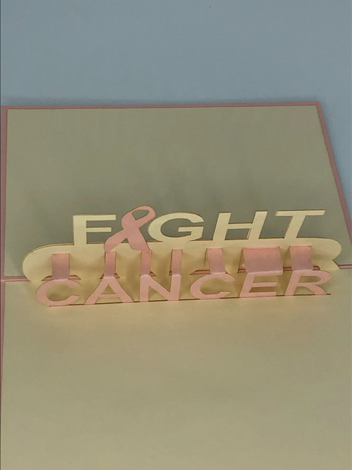 Handmade 3D Kirigami Card  with envelope  Fight Cancer