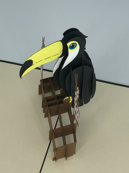 Handmade 3D Kirigami Card  with envelope  Tucan Bird