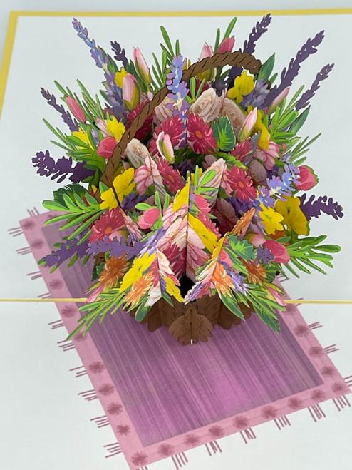 Handmade 3D Kirigami Card  with envelope  Flower Bouquet