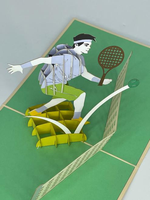 Handmade 3D Kirigami Card  with envelope  Tennis Pickleball