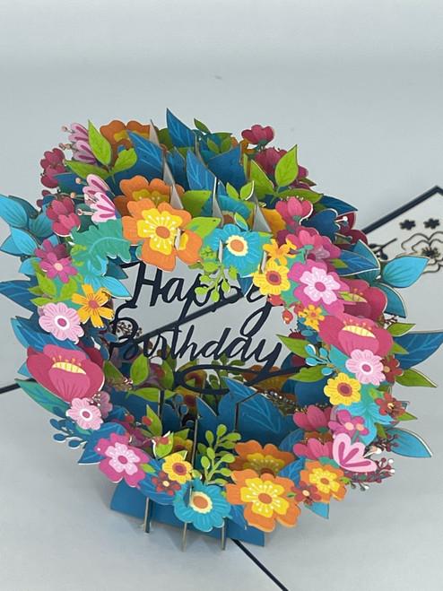 Handmade 3D Kirigami Card  with envelope  Happy Birthday Flowers