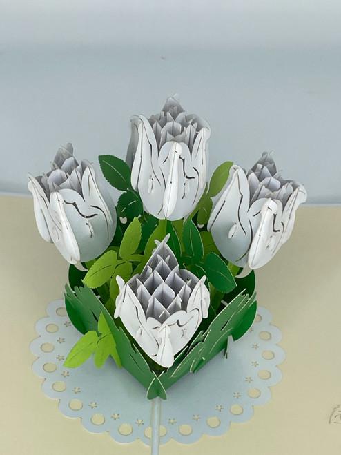 Handmade 3D Kirigami Card  with envelope  White Rose