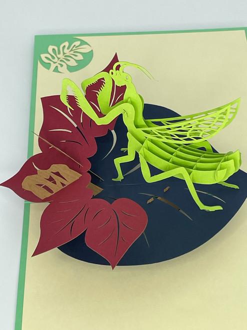 Handmade 3D Kirigami Card  with envelope  Praying Mantis Insect