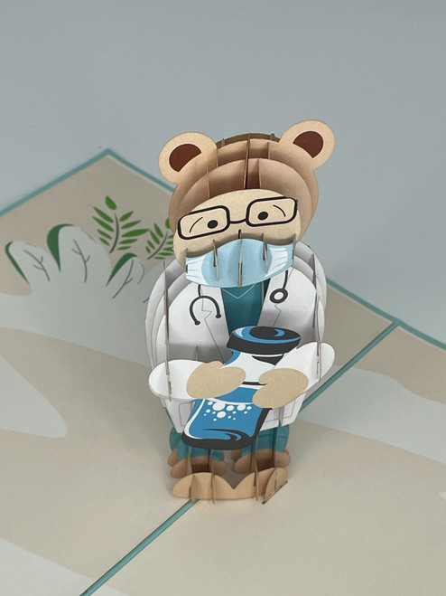 Handmade 3D Kirigami Card  with envelope  COVID Bear Doctor First Responder