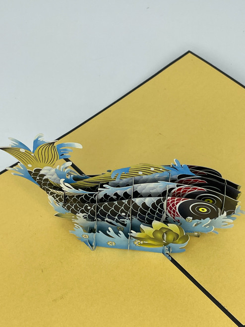 Handmade 3D Kirigami Card  with envelope  Black Koi Fish
