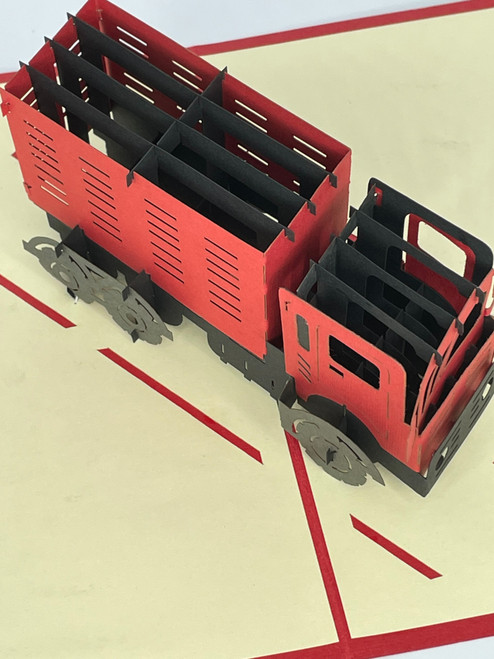 Handmade 3D Kirigami Card  with envelope  Semi Truck