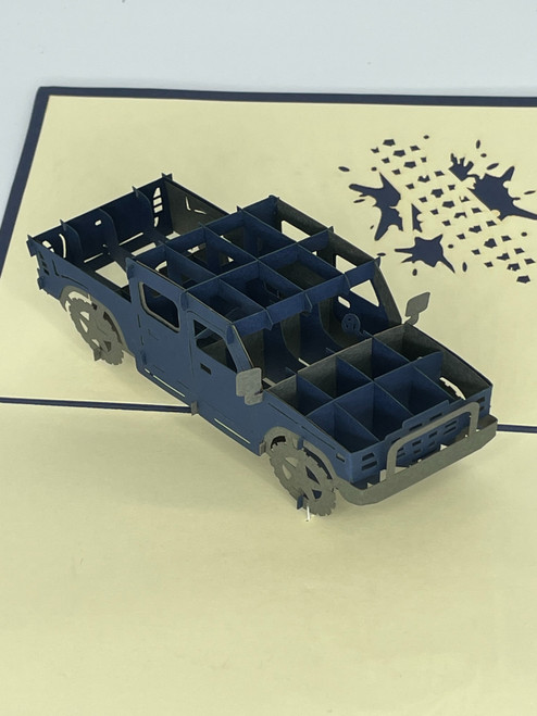 Handmade 3D Kirigami Card  with envelope  Jeep Truck