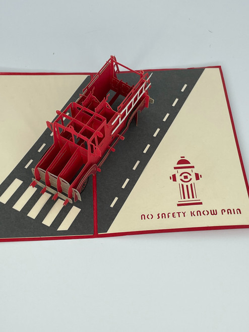 Handmade 3D Kirigami Card  with envelope  Old Fire Truck