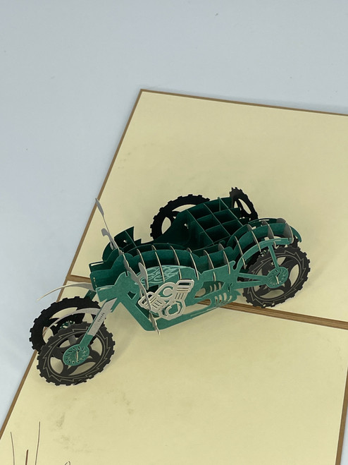 Handmade 3D Kirigami Card with envelope Green Motorcycle with Side Car