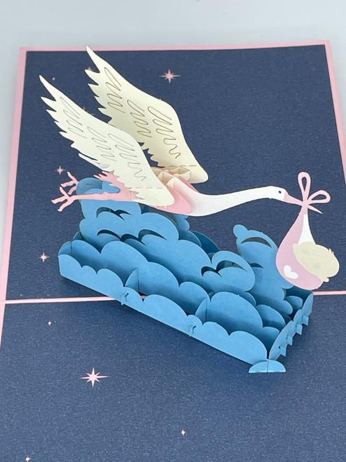 Handmade 3D Kirigami Card  with envelope  Stork Baby Boy Blue or Baby Girl Pink