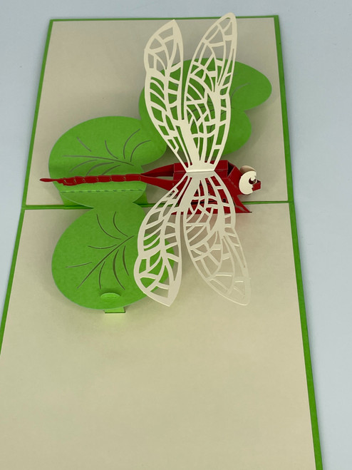 Handmade 3D Kirigami Card  with envelope  Dragonfly 1