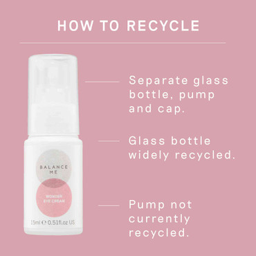 Details how to recycle the Balance Me Wonder Eye Cream 15ml packaging