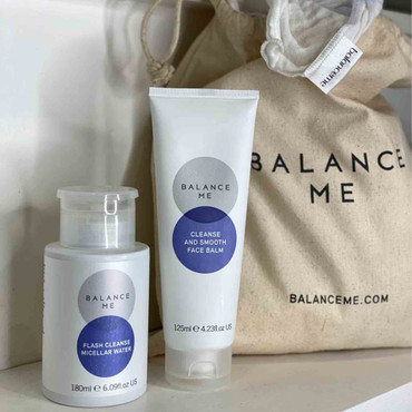 Perfect Partner products Kit including Balance Me Cleanse and Smooth Face Balm and Flash Cleanse Micellar Water on a bathroom