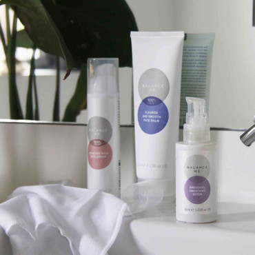 Selection of Balance Me products sitting on a bathroom shelf