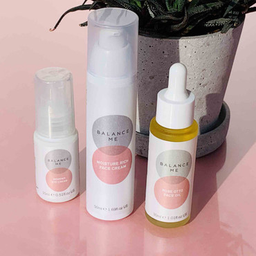 A trio of Balance Me products from our Calm + Replenish range