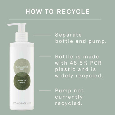 Details how to recycle Balance Me Wake Up Wash 250ml packaging