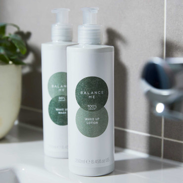 Perfect Partners; Wake Up Lotion 250ml and Wake Up Wash 250ml in a bathroom setting