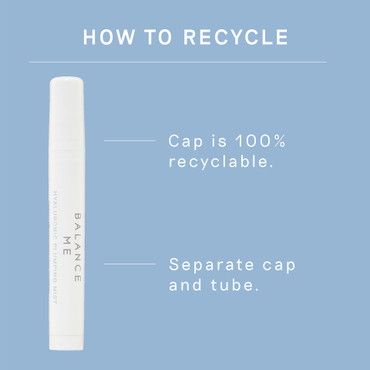 Details how to recycle the Balance Me Hyaluronic Plumping Mist 10ml packaging