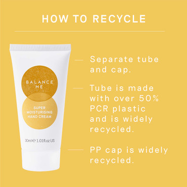 Details how to recycle the Balance Me Super Moisturising Hand Cream 30ml packaging
