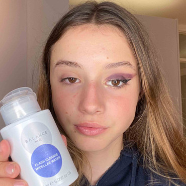Natural teen model demonstrating with makeup on one eye and not the other where she has used Balance Me Flash Cleanse Micellar Water to remove makeup effectively