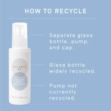 Details how to recycle Balance Me Collagen Boost Moisturiser packaging