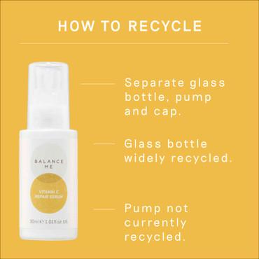 Details how to recycle Balance Me Vitamin C Repair Serum packaging