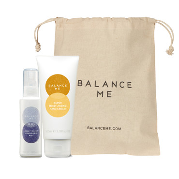 Balance Me Self Care Parcel bundle (2 products) and hessian bag, on a white background
