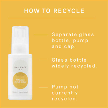 Details of how to recycle the Balance Me Vitamin C Repair Serum packaging