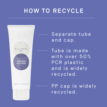 Details of how to recycle the Balance Me Pure Skin Face Wash packaging