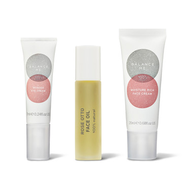 Balance Me Sensitive Skin 3 Step Routine collection (3 products) on a white background