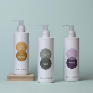 Balance Me Wash Trio (3 products) on a grey backdrop