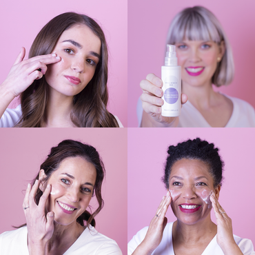 Tile of four natural models of varying ages holding Pre and Probiotic Radiance Cream 50ml to camera or applying it to their faces